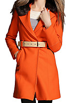 Women's Solid Orange / Yellow Pea Coats,Simple Wool