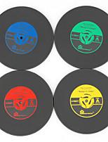 1pcs coasters vinyle cru enregistrement cd groovy mat boissons au bar de la table de coupe (couleur ramdon)