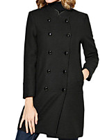 Women's Solid Black Pea Coats,Simple Long Sleeve Wool