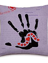 Handprint Lip Pattern Linen Pillowcase Sofa Home Decor Cushion Cover (18*18inch)