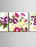 E-HOME® Red Flowers Clock in Canvas 3pcs