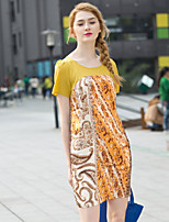Zishangbaili® Women's Round Neck Short Sleeve Knee-length Dress-DT112