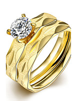 2016 Luxury Gold Zircon Rainbow Titanium Steel Romantic Wedding Couple Ring