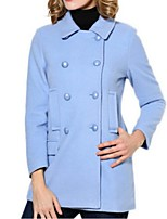 Women's Solid Blue / White Pea Coats,Street chic Long Sleeve Polyester