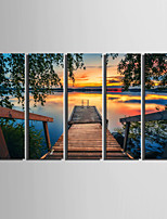 E-HOME® Stretched Canvas Art The Lake View Decoration Painting  Set of 5