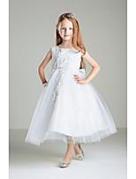 Ball Gown Tea-length Flower Girl Dress - Tulle / Polyester Sleeveless Jewel with