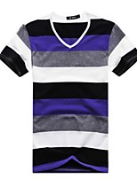 Men's Striped Casual T-Shirt,Cotton Short Sleeve-Blue / Green / Orange / Purple / Red / Yellow