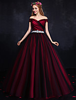 Formal Evening Dress-Burgundy Ball Gown Off-the-shoulder Floor-length Tulle