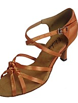 Women's Latin Satin Sandals Indoor Customized Heel Almond
