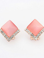 Super Shinning Zircon Jewelry Rhinestone Square Pink Beige Stud Earrings Women's Resin / Alloy Earrings