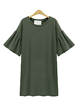 Women's Plus Size / Casual/Daily Street chic T Shirt Dress,Solid Round Neck Above Knee ½ Length Sleeve Black / Green / Multi-color Cotton