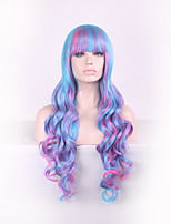 Women Long Deep Wave Synthetic Hair Wig Multi-color