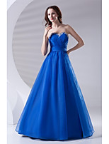 Formal Evening Dress-Ocean Blue A-line Sweetheart Floor-length Organza