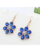 Mix Colors Rhinestone Beautiful Flowers Stud Earrings Vintage Women Fashion Brand Jewelry Bohemian