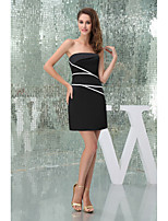 Cocktail Party Dress-Black Sheath/Column Strapless Short/Mini Satin