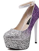 Chaussures Femme-Décontracté-Violet / Bordeaux-Talon Aiguille-Talons / Bout Arrondi-Talons-Similicuir