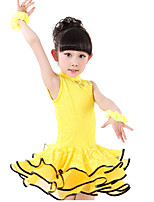 Latin Dance Dresses Children's Performance Spandex / Lace Lace 1 Piece Black / Red / Yellow