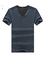 Men's Solid Casual T-Shirt,Cotton Short Sleeve-Black / Blue / Brown / Gray