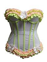 Feminino Plus Size / Sem Busto / Com Busto / Vestido com Corset / Conjunto com Corset Colchete Renda / Nylon / Poliéster Feminino