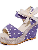 Women's Shoes Leatherette Summer Wedges / Heels Outdoor / Casual Wedge Heel Lace-up Blue / Pink / Purple