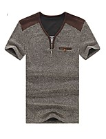 Men's Patchwork Casual T-Shirt,Cotton Short Sleeve-Blue / Brown / Gray
