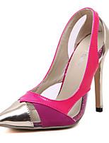 Chaussures Femme-Soirée & Evénement-Noir / Rose-Talon Aiguille-Talons / Bout Pointu-Talons-Similicuir
