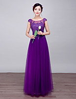 Formal Evening Dress-Lilac Ball Gown Scoop Floor-length Lace / Satin / Stretch Satin