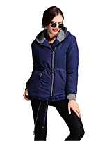 Women's Solid Blue Coat,Simple Long Sleeve Nylon