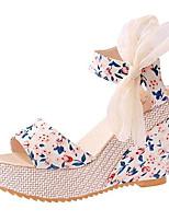 Chaussures Femme-Extérieure / Décontracté-Noir / Bleu / Multi-couleur / Beige-Talon Compensé-Compensées-Sandales-Similicuir