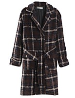Women's Casual/Daily Street chic Pea Coats,Plaid Long Sleeve Winter Brown Polyester