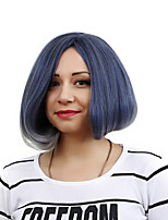 Women Curly Synthetic Hair Wig Light Blue