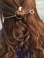 Women Simple Fashion Retro Geometric Circular Hairpin Alloy Hair Accessories 1pc