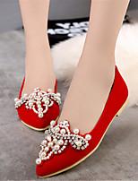 Women's Shoes Velvet Flat Heel Heels / Pointed Toe Flats Wedding / Party & Evening / Dress Black / Red