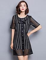 2016 Summer Women New Mesh Perspective Stripe Dress