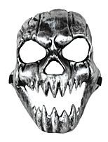 Terror Grimasse Eckzahn Schädel Maske silbrig schwarz