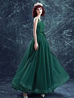 Formal Evening Dress A-line Scoop Floor-length Tulle with Appliques / Beading / Bow(s)