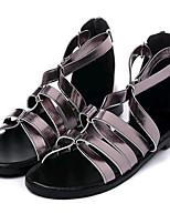 Chaussures Femme-Extérieure / Décontracté-Noir / Gris-Talon Plat-Confort-Sandales-Similicuir