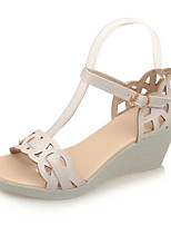 Women's Shoes Leatherette Wedge Heel Wedges Sandals Office & Career / Party & Evening / Dress / Casual Pink / White