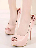 Women's Shoes Leatherette Stiletto Heel Heels / Peep Toe Heels Wedding / Party & Evening Pink / Almond