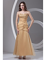 Formal Evening Dress Trumpet / Mermaid Sweetheart Ankle-length Tulle with Beading / Side Draping