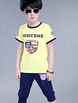 Boy's Round Collar Print Stitching Cotton Short Sleeve Clothing Set(T-shirt & Harem Pants)