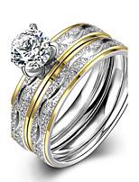 2016 Luxury Filaments Stripes Silver Zircon Titanium Steel Romantic Wedding Couple Ring