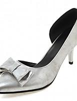 Calçados Femininos-Saltos-Saltos-Salto Agulha-Preto / Prateado-Courino-Ar-Livre / Escritório & Trabalho / Social