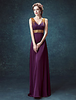Formal Evening Dress Sheath/Column V-neck Floor-length Satin / Tulle