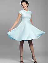 Baoyan® Women's Peter Pan Collar Short Sleeve Above Knee Dress-1503831
