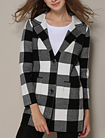 Women's Casual/Daily Simple / Street chic Coat,Check Long Sleeve Blue / Gray Polyester