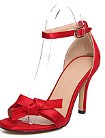 Women's Shoes Satin Stiletto Heel Heels / Peep Toe Sandals Casual Black / Blue / Red