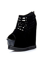 Women's Shoes  Wedge Heel Wedges / Platform / Open Toe Sandals Wedding / Office & Career / Party & Evening / Dress Black