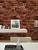 HaokHome®  Vintage Faux Stone Textured Wallpaper Red Multi 3D Brick Realistic Paper Room Decoration Wall Covering