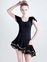 Latin Dance Dresses Women's Performance Viscose / Milk Fiber Ruffles 1 Piece Black And Gold Latin Dance BacklessShort Sleeve / 3/4 Length